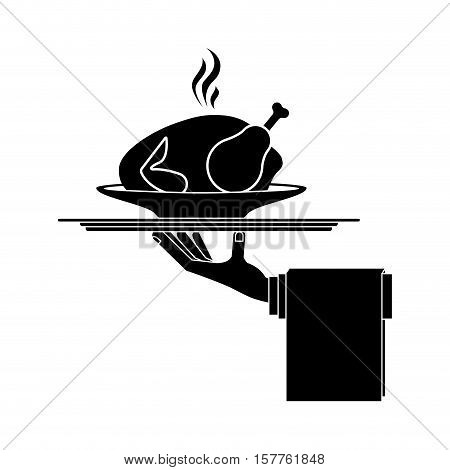 silhouette monochrome dish with hot chicken roast in tray vector illustration