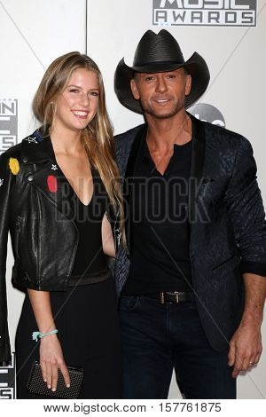 LOS ANGELES - NOV 20:  Maggie Elizabeth McGraw, Tim McGraw at the 2016 American Music Awards at Microsoft Theater on November 20, 2016 in Los Angeles, CA