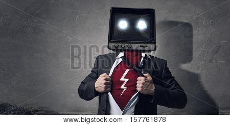 He has super power . Mixed media
