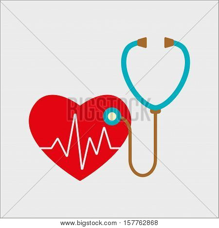 Stethoscope and heart with cardiogram. Cardiology symbol. Colorful vector illustration.