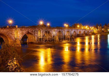 Zamora Puente de Piedra stone bridge on Duero river of Spain