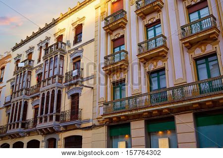 Zamora Santa clara street facades in Spain modernism