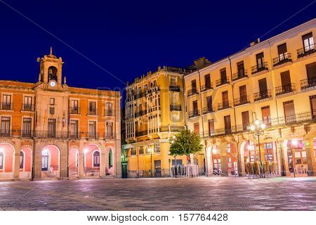 Zamora Plaza Mayor sunset in Spain by via de la Plata way to Santiago