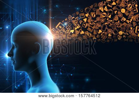 Virtual Human 3Dillustration On Business And Learning Technology  Background