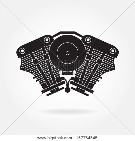 Engine symbol. Car or motorcycle motor silhouette. Vector engine icon.
