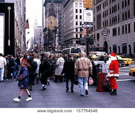 NEW YORK, USA, DECEMBER 9, 1994 - Father Christmas along 5th Avenue at Christmas New York USA, December 9, 1994.