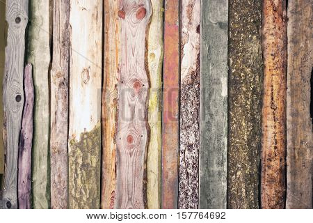 Close view ofolorful vertical wooden planks background