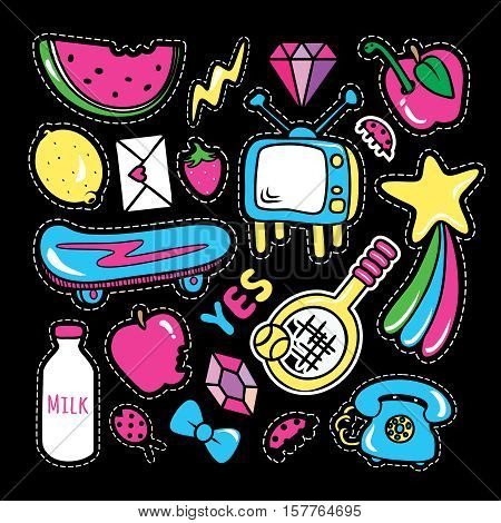 Stickers collections in pop art style isolated onblack background. Trendy fashion chic patches pins badges design set in cartoon 80s-90s comic style. Vector illustration.