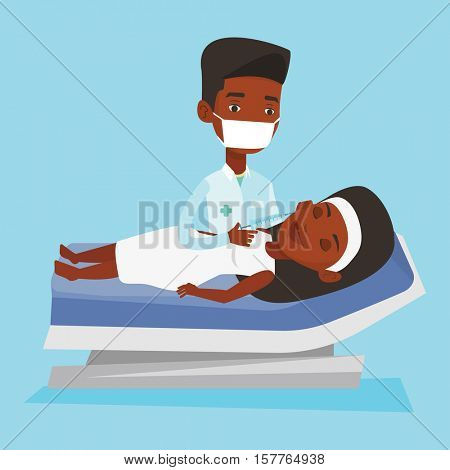 An african woman lying on the couch in beauty salon and getting cosmetic dermal injection in her face. Doctor making beauty injections to female client. Vector flat design illustration. Square layout.