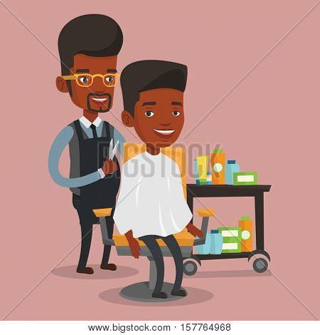 An african-american barber cutting hair of young man at barbershop. Professional hairdresser making haircut to a client with scissors in beauty saloon. Vector flat design illustration. Square layout.