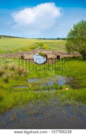 Bridge over Salor river in Via de la Plata way of Spain at Extremadura