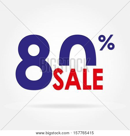 Sale 80% and discount price sign or icon. Sales design template. Shopping and low price symbol. Colorful vector illustration.