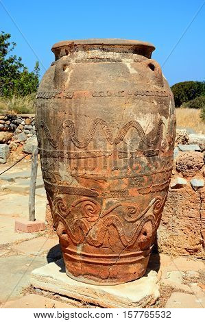 Ancient large decorated terracotta pot at the Minoan Malia ruins archaeological site Malia Crete Greece Europe.
