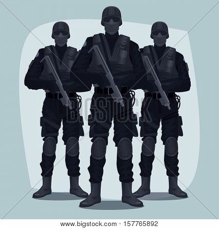 Three People Of Specialized Tactical Team