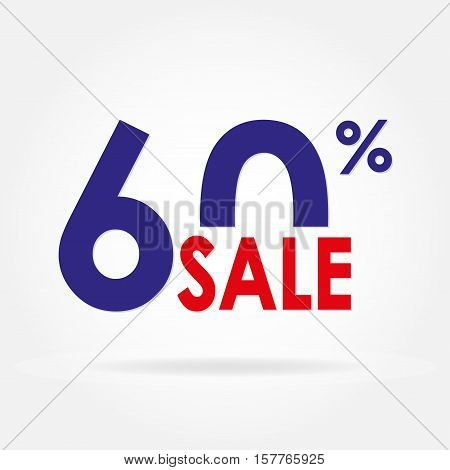 Sale 60% and discount price sign or icon. Sales design template. Shopping and low price symbol. Colorful vector illustration.