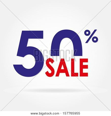 Sale 50% and discount price sign or icon. Sales design template. Shopping and low price symbol. Colorful vector illustration.