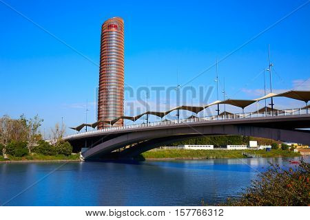 Torre de Sevilla and puente Cachorro in Seville of Andalusia Spain