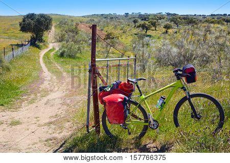 Bike at Saint James Way in via de la Plata of Spain by Extremadura