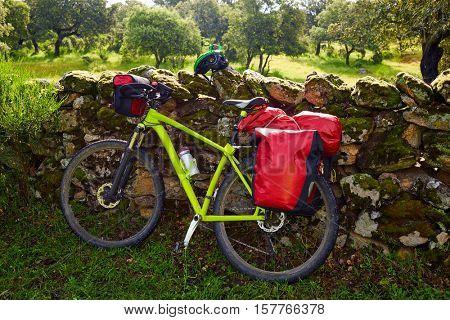 Pilgrim bike in Extremadura at Via de la Plata way of spain