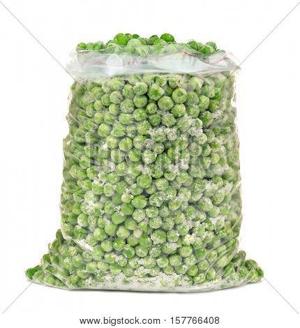 Frozen peas on white background