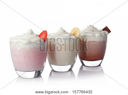 Milk shakes on white background