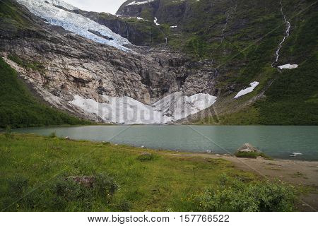 This is the glacier Suphellebreen one of the branches of a large glacier in the Jostedalsbreen National Park Norway.