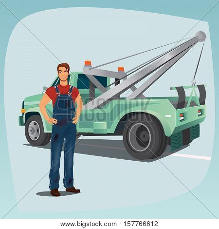 Tow Truck Operator And Pickup Wagon