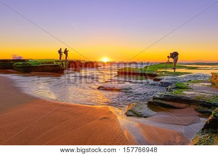 Sunrise on Narrabeen Beach Sydney Australia.NOV 22,2016 Narrabeen is a beachside suburb in northern Sydney, in the state of New South Wales, Australia.