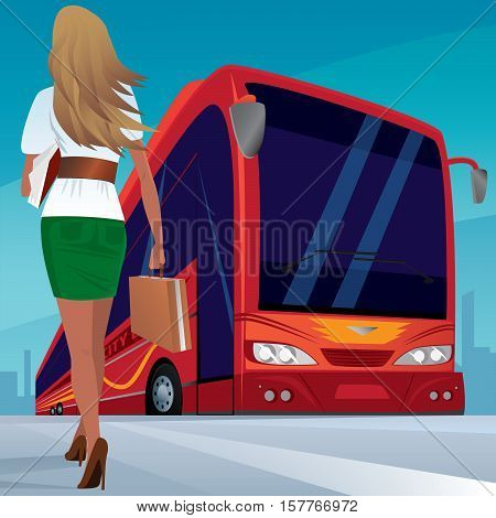Beautiful young adult woman in a short skirt walks slowly to red modern passenger bus. In case one hand and the other a sheaf of papers