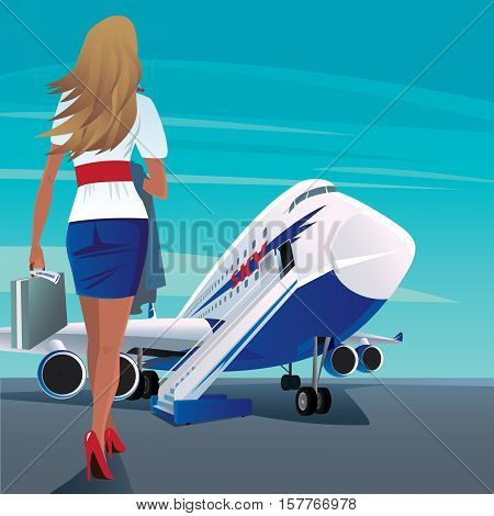 Beautiful young adult woman in a short skirt walks slowly to big modern passenger plane. In case one hand and in the other hand outerwear. Business trip concept