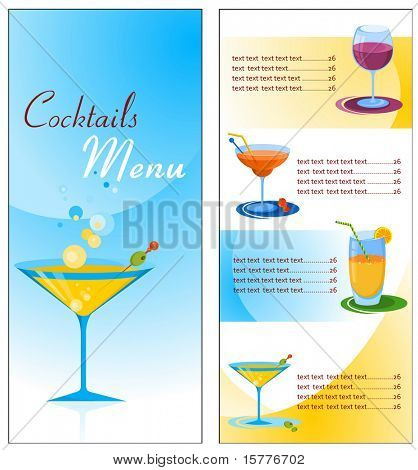 A cocktail menu template , vector file
