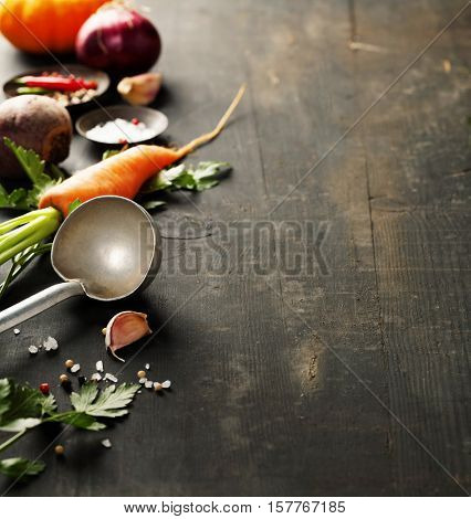 Vegetables on wood. Bio Healthy food, herbs and spices. Organic vegetables on wood. Cooking concept