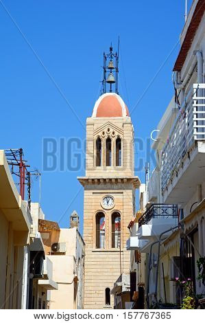 View of the cathedral bell tower (Megalos Antonios church) Rethymno Crete Greece Europe.