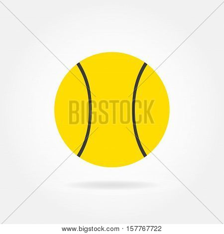 Tennis ball icon in flat style isolated on white background. Vector illustration.
