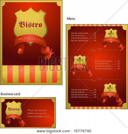 Template designs of menu and business card for coffee shop, bistro and restaurant, vector file include