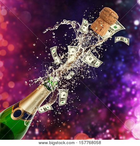 Splashing bottle of champagne with dollars currency. Celebration and success concept, free space for text