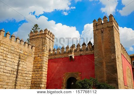 Seville Real Alcazar fortress door Sevilla Andalusia Spain