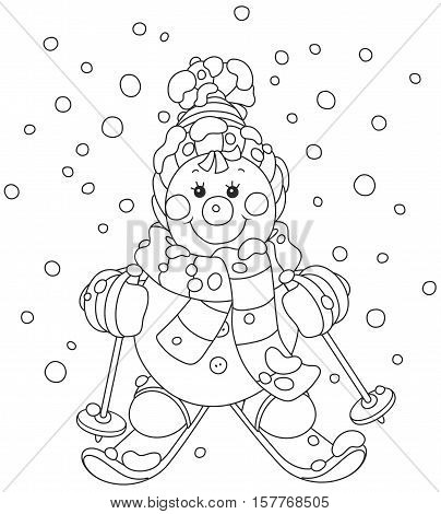 Funny snowman wearing a colorful scarf, a cap, mittens and skiing through snowfall