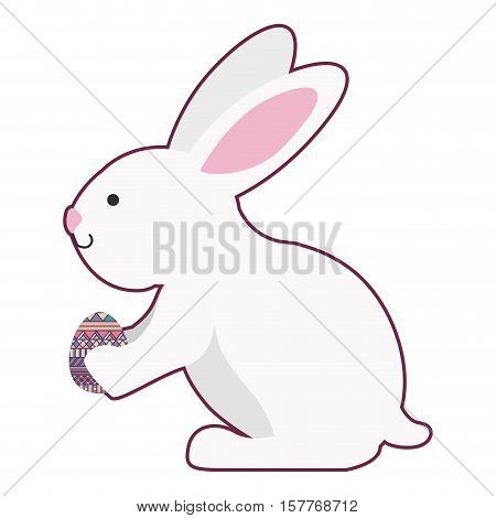 rabbit holding easter egg with long ears vector illustration