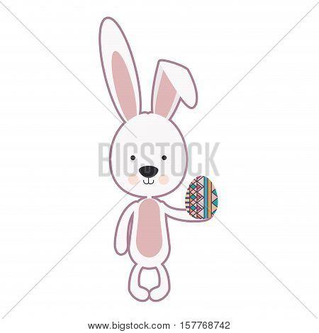 skinny rabbit holding a easter egg vector illustration