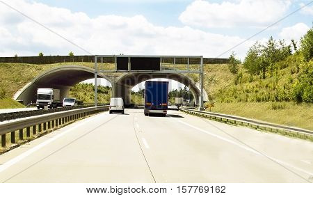 Cargo Transportation By On The Autobahn