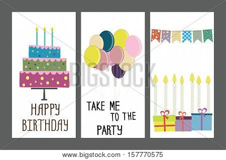 happy birthday, holiday, greeting and invitation card. layout template .Stock vector illustration