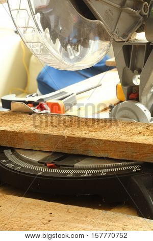 cutting board with mitre saw close up