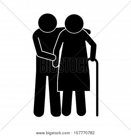pictogram elderly couple with walking stick vector illustration