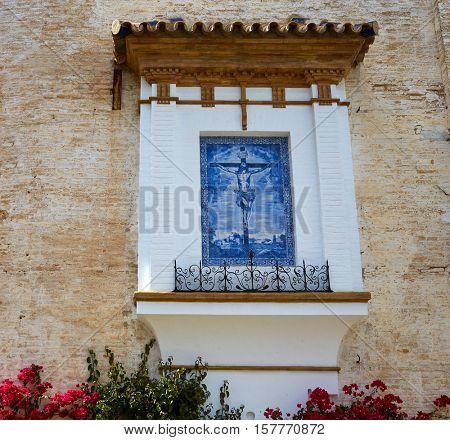 Seville Cristo Misericordias tiles in Sevilla Andalusia of Spain