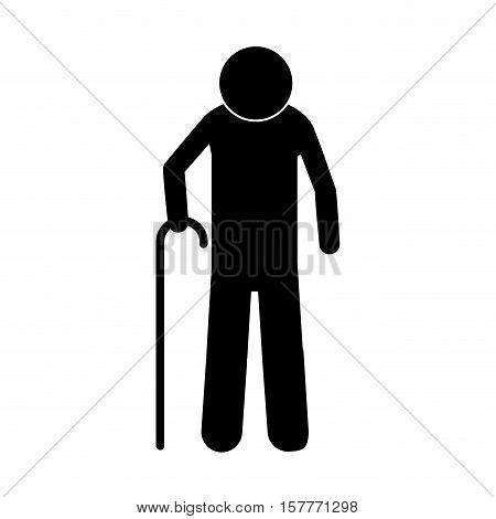 pictogram elderly man with walking stick vector illustration