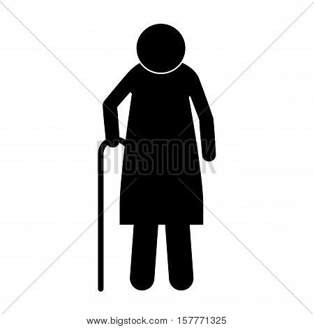 icon silhouette elderly woman with walking stick vector illustration