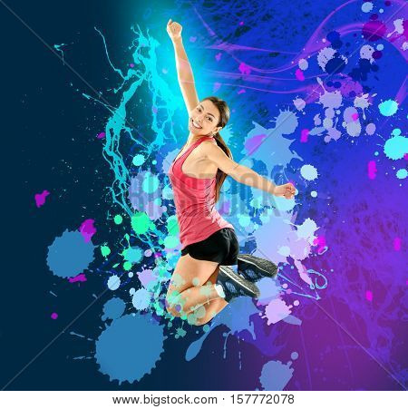 Young sporty woman jumping. Creative art work background.