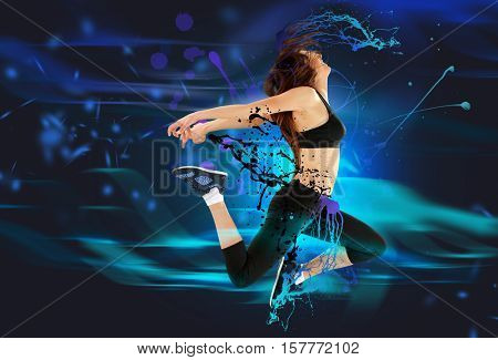 Young sporty woman jumping. Creative art work