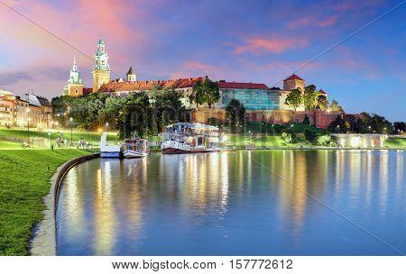 Krakow Poland at a night, Poland with river Vistula